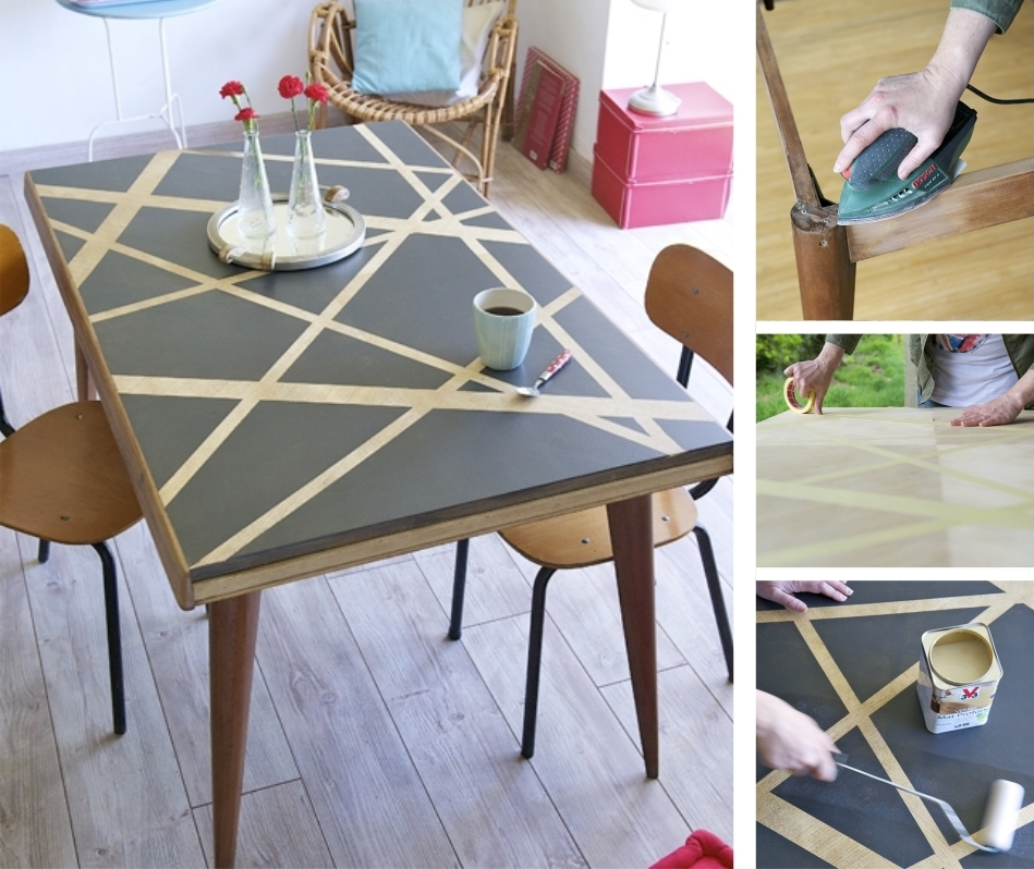 relooker une table avec des effets graphiques diy. Black Bedroom Furniture Sets. Home Design Ideas